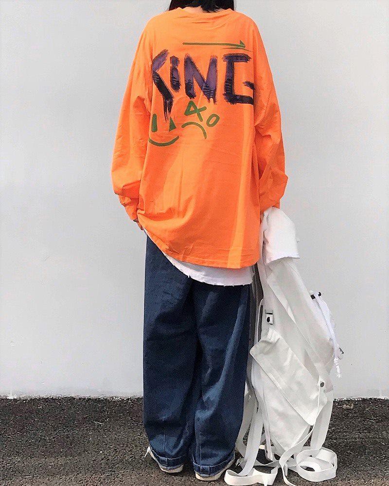 《2色》アングリーワニロングオーバーサイズTシャツの画像4